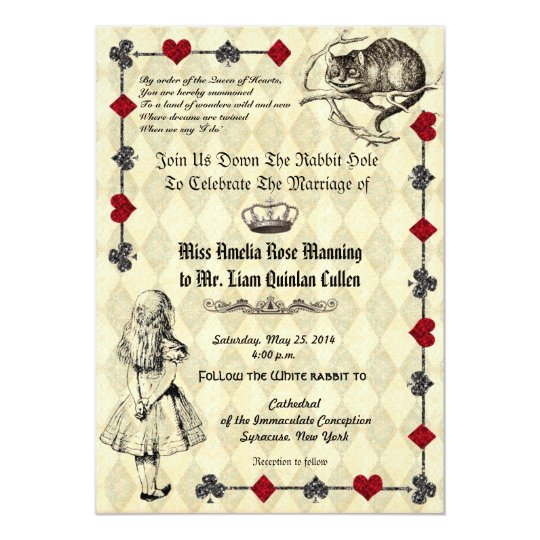 Alice in Wonderland Wedding Invitation Zazzlecom