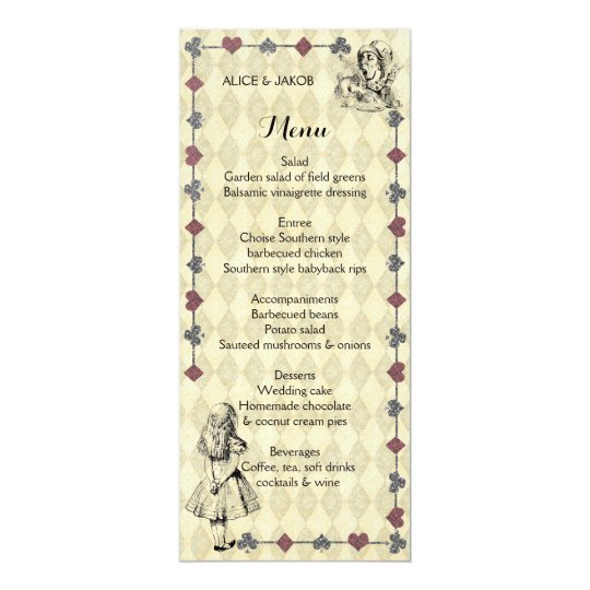Alice In Wonderland Wedding Menu Mad Hatter Tea Card