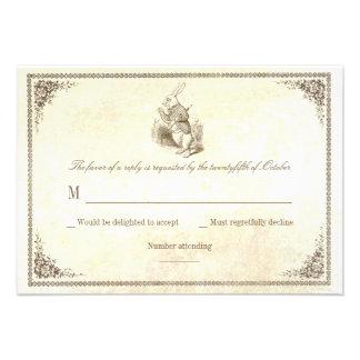 Alice in wonderland wedding RSVP cards