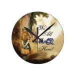 Alice in Wonderland Were All Mad Here Round Clocks