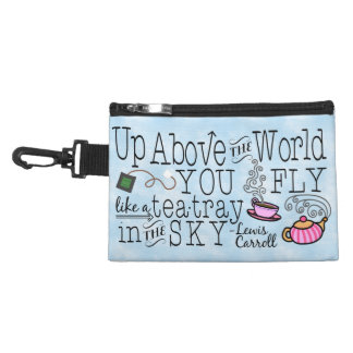 Alice in Wonderland Whimsical Tea Carroll Quote Accessory Bags