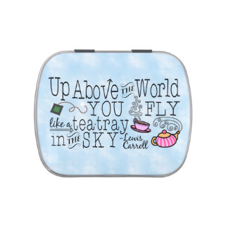 Alice in Wonderland Whimsical Tea Carroll Quote Jelly Belly Candy Tins