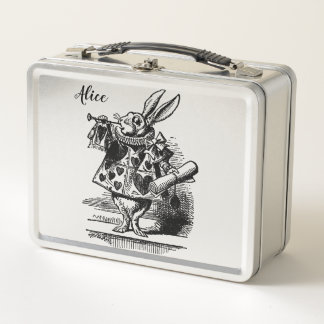 Alice in Wonderland White Rabbit as Herald Metal Lunch Box