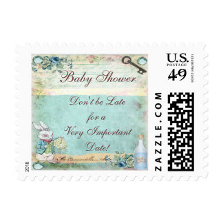 Alice in Wonderland White Rabbit Baby Shower Postage Stamp