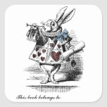 Alice in Wonderland White Rabbit Bookplate Sticker
