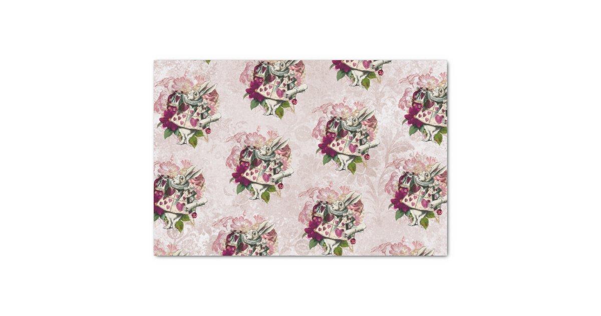 Alice In Wonderland White Rabbit Burgundy Blush Tissue Paper Zazzle Com