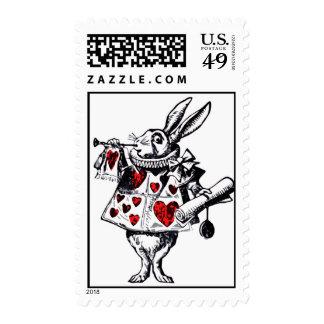 Alice in Wonderland White Rabbit Colorized Postage Stamp