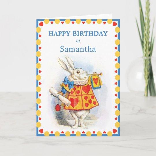 Alice In Wonderland White Rabbit Custom Birthday Card Zazzle