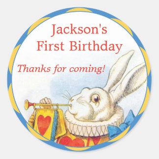 Alice in Wonderland White Rabbit First Birthday Classic Round Sticker