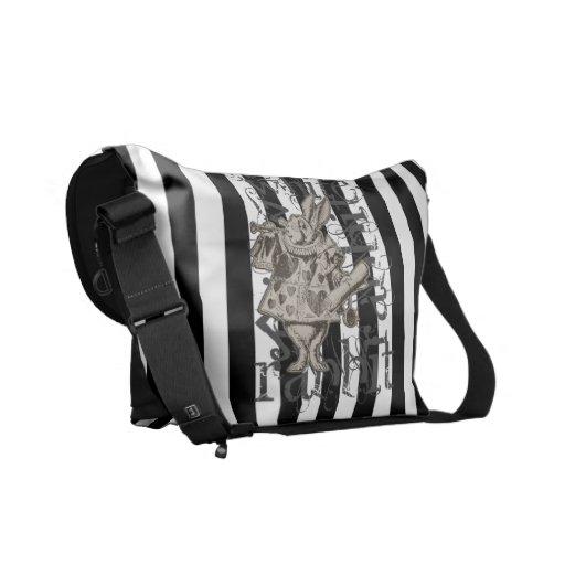 Alice In Wonderland White Rabbit Grunge Messenger Bag