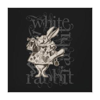 Alice In Wonderland White Rabbit Grunge (Single) Stretched Canvas Print