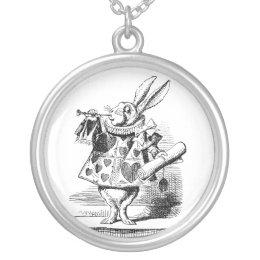 Alice In Wonderland White Rabbit Herald Silver Plated Necklace