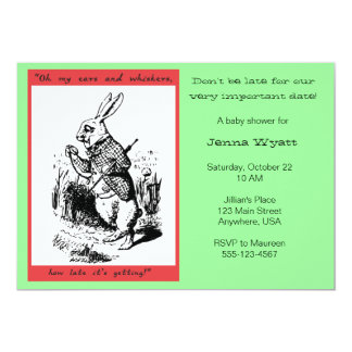 "Alice in Wonderland - White Rabbit 5"" X 7"" Invitation Card"
