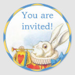 Alice in Wonderland White Rabbit Invitation Seals Classic Round Sticker