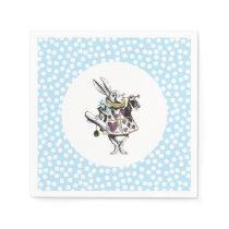 Alice in Wonderland White Rabbit Polka Dot Napkin
