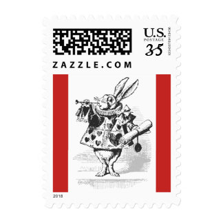 Alice in Wonderland White Rabbit Postcard Stamp