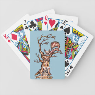 Alice in Wonderland with Cheshire Cat Drawing Bicycle Playing Cards