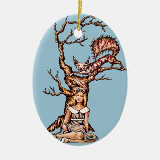 Alice in Wonderland with Cheshire Cat Drawing Ceramic Ornament