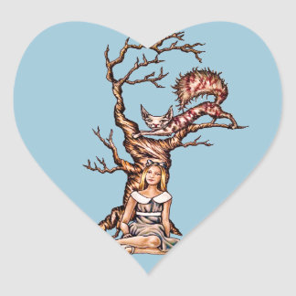 Alice in Wonderland with Cheshire Cat Drawing Heart Sticker