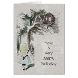Alice in Wonderland with Cheshire Cat Greeting Card
