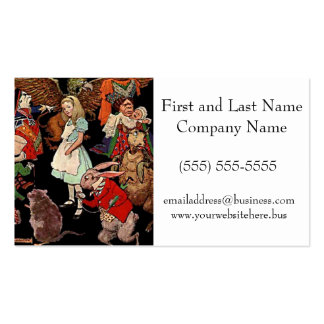 Alice in Wonderland with Friends Illustration Business Card