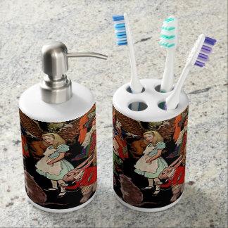 Alice in Wonderland with Friends Illustration Soap Dispenser And Toothbrush  Holder. Wonderland Bath Sets   Zazzle