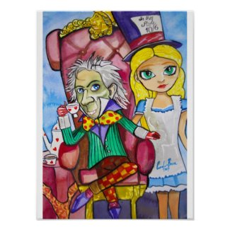 Alice in Wonderland with the Mad Hatter Poster