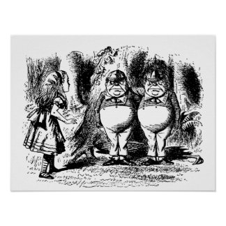 Alice in Wonderland with Tweedledum and Tweedledee Posters