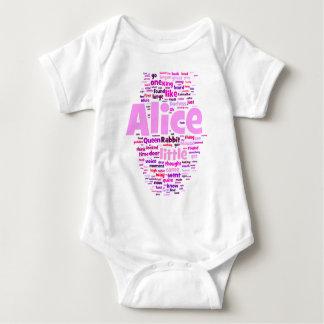 Alice in Wonderland Word Art Baby Bodysuit