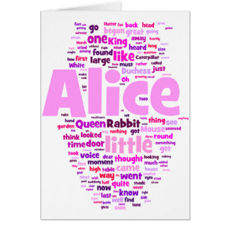 Alice in Wonderland Word Art Card