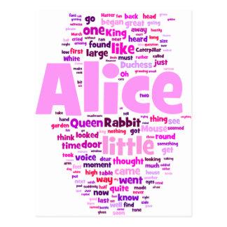 Alice in Wonderland Word Art Postcard