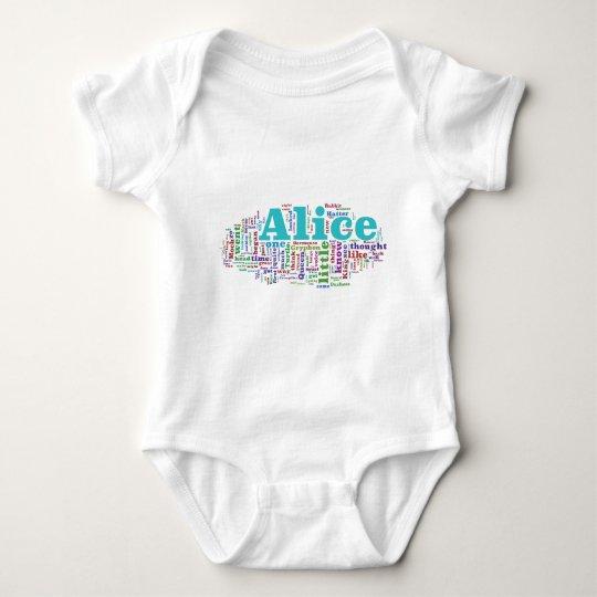 Alice in Wonderland Word Cloud Baby Bodysuit