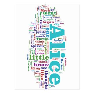 Alice in Wonderland Word Cloud Postcard