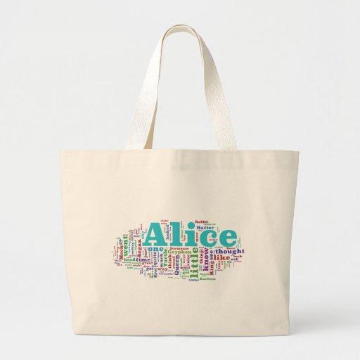 Alice in Wonderland Word Cloud Tote Bags