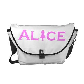 Alice in Wonderland Word Play in Pink Messenger Bag