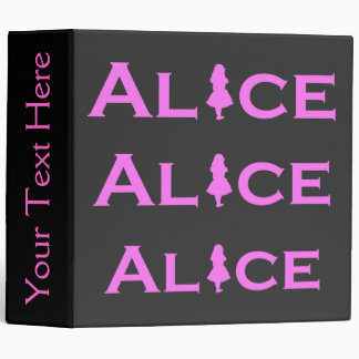 Alice in Wonderland Word Play Pink 3 Ring Binder