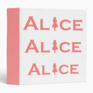 Alice in Wonderland Word Play Salmon Pink 3 Ring Binder