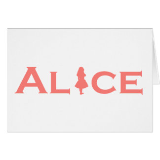 Alice in Wonderland Word Play Salmon Pink Card