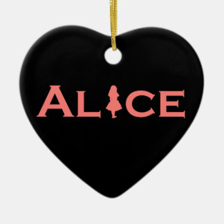Alice in Wonderland Word Play Salmon Pink Ceramic Ornament