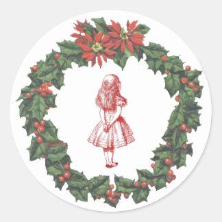 Alice in Wonderland Wreath Christmas Sticker