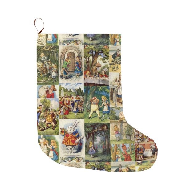 Alice in wonderland xmas stocking large christmas stocking zazzle