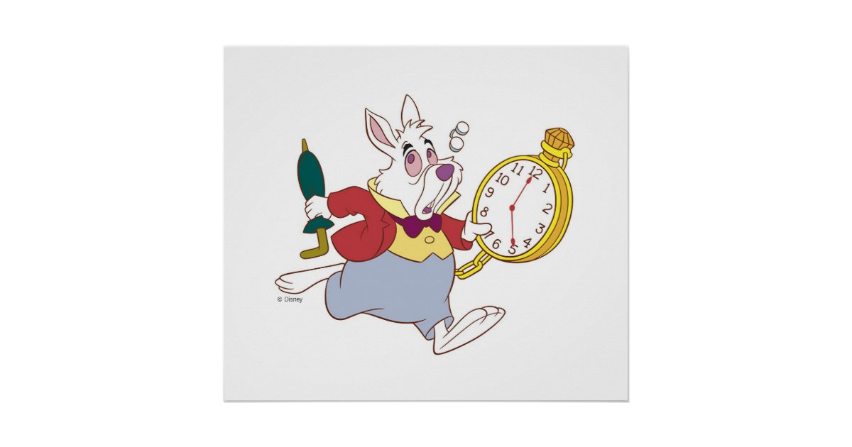 Alice In Wonderland S White Rabbit Running Disney Poster