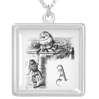 Alice in Wondlerand, Humpty Dumpty with Alice Square Pendant Necklace