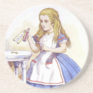 "Alice in Woonderand illustration ""Drink Me"" Drink Coaster"