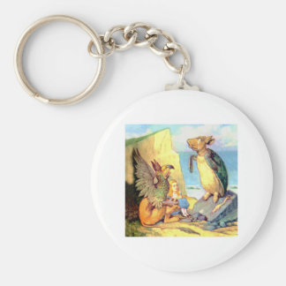 Alice listens to  the Griffin and the Mock Turtle Basic Round Button Keychain