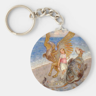 Alice Listens to the Griffin and the Mock Turtle Keychain