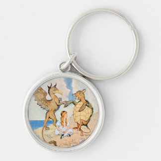 Alice Listens to the Griffin and the Mock Turtle Silver-Colored Round Keychain