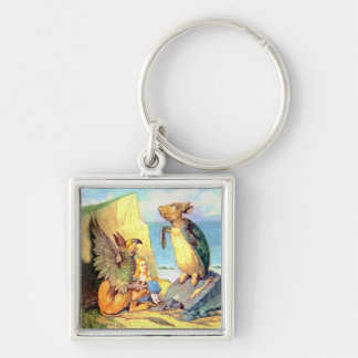 Alice listens to  the Griffin and the Mock Turtle Silver-Colored Square Keychain