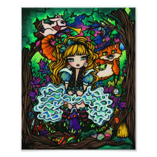 """Alice Lost"" Alice in Wonderland Cheshire Cat Poster"