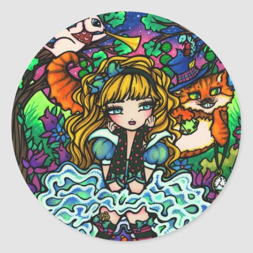 """Alice Lost"" Alice in Wonderland Cheshire Cat Sticker"